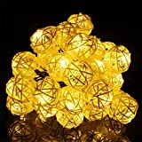Waterproof Solar LED Rattan Ball Lamp,YiMiky Solar Spotlight Lamp Mounted on Roof for Festival Christmas Wedding Party Outdoor Home Garden Square Bedroom Landscape Indoor Decorations(Warm White)