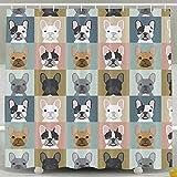 French Bulldog Pattern Fashion Shower Curtain Deluxe Waterproof Bath Curtain
