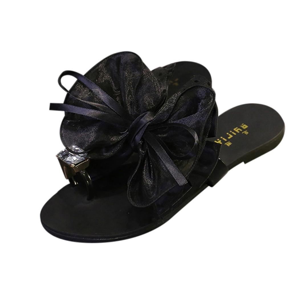 Women Flower Bow Flat Heel Toe Sandals Slipper Beach Shoes Casual Shoes B07DL3XMXJ 37 M EU|Black