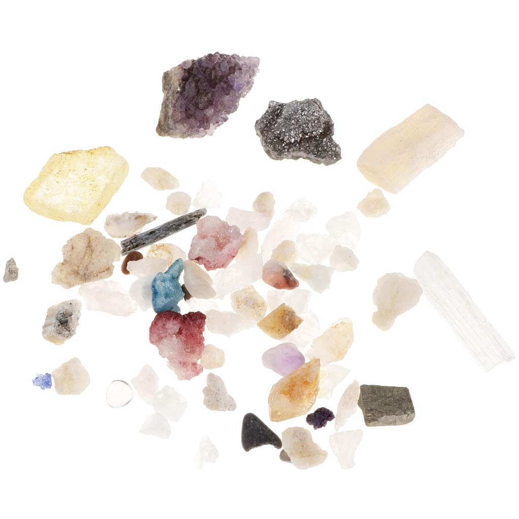 B Blesiya Educational Geology Science Kit - Rock and Mineral Collection (PK218) with Clear Acrylic Box