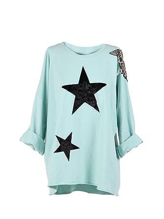 4bba521101dee Ladies Italian Velvet Star Lagenlook Top Sequin Star Tunic Top Plus Sizes  (Aqua)  Amazon.co.uk  Clothing