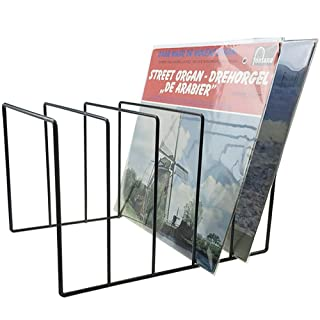 "Record-Happy Vinyl Record Storage Holder Stand - Vinyl Coated Metal Wire Rack Holds up to 50 Album Lp's - Premium Display, Simple and Contemporary Concept Design for 12"" Records"