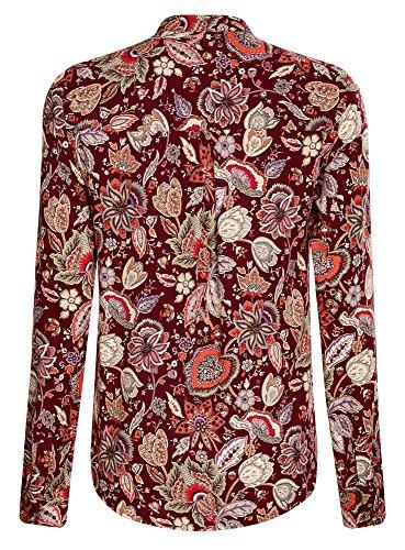 oodji Collection Mujer Blusa de Viscosa Estampada con Cuello Mao Rojo (4959F)