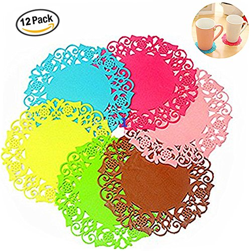 Coasters, Set of 12 Silicone Trivet Mat Pot Holder Heat Resistant Insulated Flexible Durable Tableware Cup Pad Potholders Non Slip Coasters Hot Pads