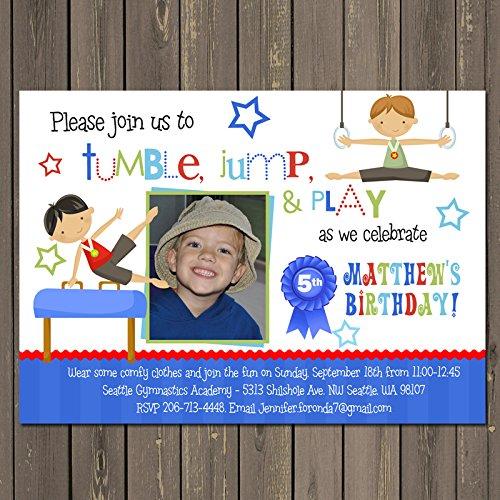 boys gymnastics birthday invitation gymnastics party invite tumbling party customized photo invitation