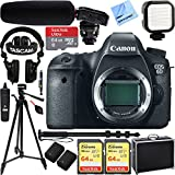 Canon EOS 6D 20.2 MP DSLR Camera (Body) w/ Tascam DSLR Audio Recorder and Shotgun Microphone + 128GB & 64GB Pro Video Bundle