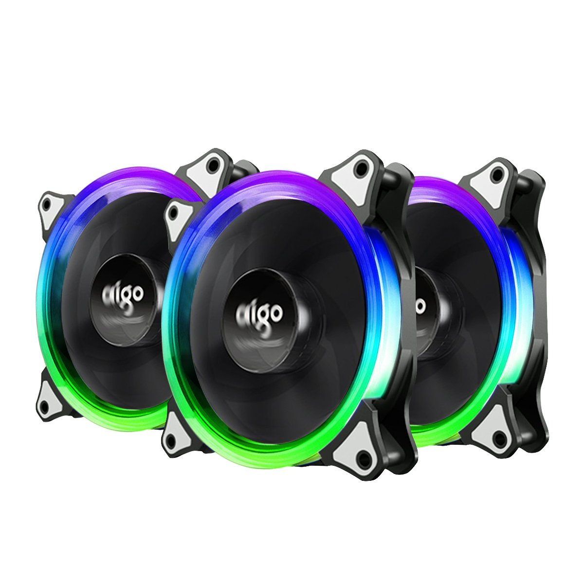 3-Pack Aigo  RGB LED 120mm Quiet Edition Adjustable LED Case Fan for PC Cooler