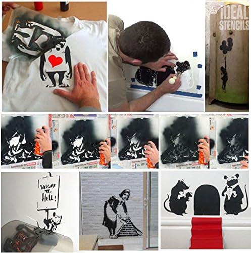 Fille Au Ballon De Banksy Pochoir Reutilisable Decoration Murale Pochoir Graffiti Banksy Style Art Pochoir Peinture Murs Fabrics Meuble Semi Transparent Pochoir S 17x25cm Pochoirs