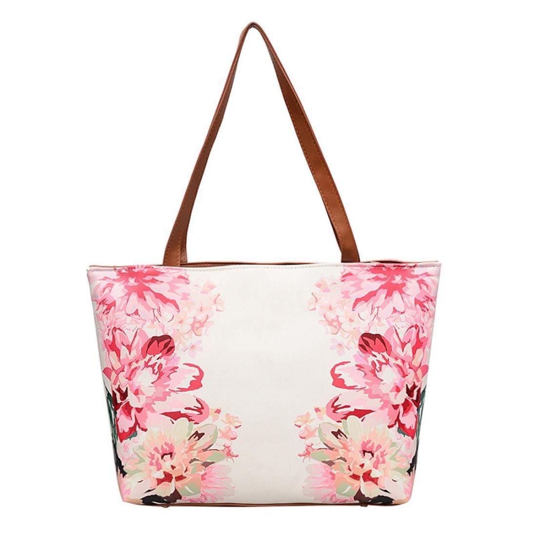 Owill Women Ladies Leather Vintage Flower Painting Bag Shoulder Bag Handbag Shopping Bag (Hot Pink)