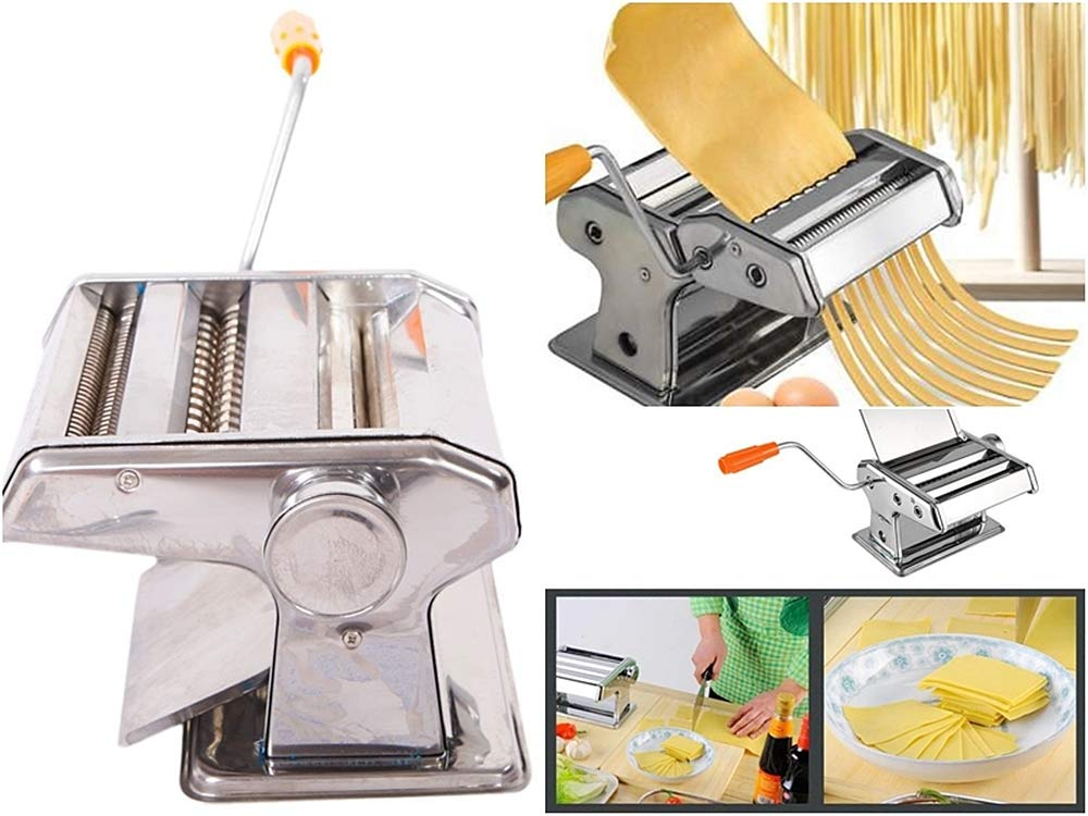 Prettyshop4246 Set Of 2 Pcs Pasta hand-cranking Machine Dual-blade Make dumplings Wanton Noodles press dough into thin healthy and yummy noodles household use Stainless steel several holes on the side