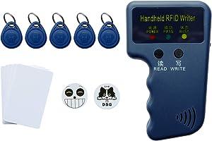 125Khz RFID Reader Writer - ID Card Compatible With Proximity Key Card Reader Duplicator Copier EM4100 Card Reader Writer Including 3M Sticker 2Pcs, Blank Card 5Pcs, RFID Key Fob 5Pcs