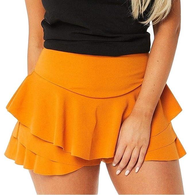 411d6c52b beautyjourney Faldas de Mujer con Volantes Falda de Playa de Verano  Minifalda de Color Liso con Cintura Alta Pantalones Cortos básicos
