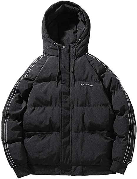 Bolayu Men/'s Cotton Puffer Jacket Hooded Full Zip Up Fall Winter Warm Casual Softshell Slim Fit Puffer Coat