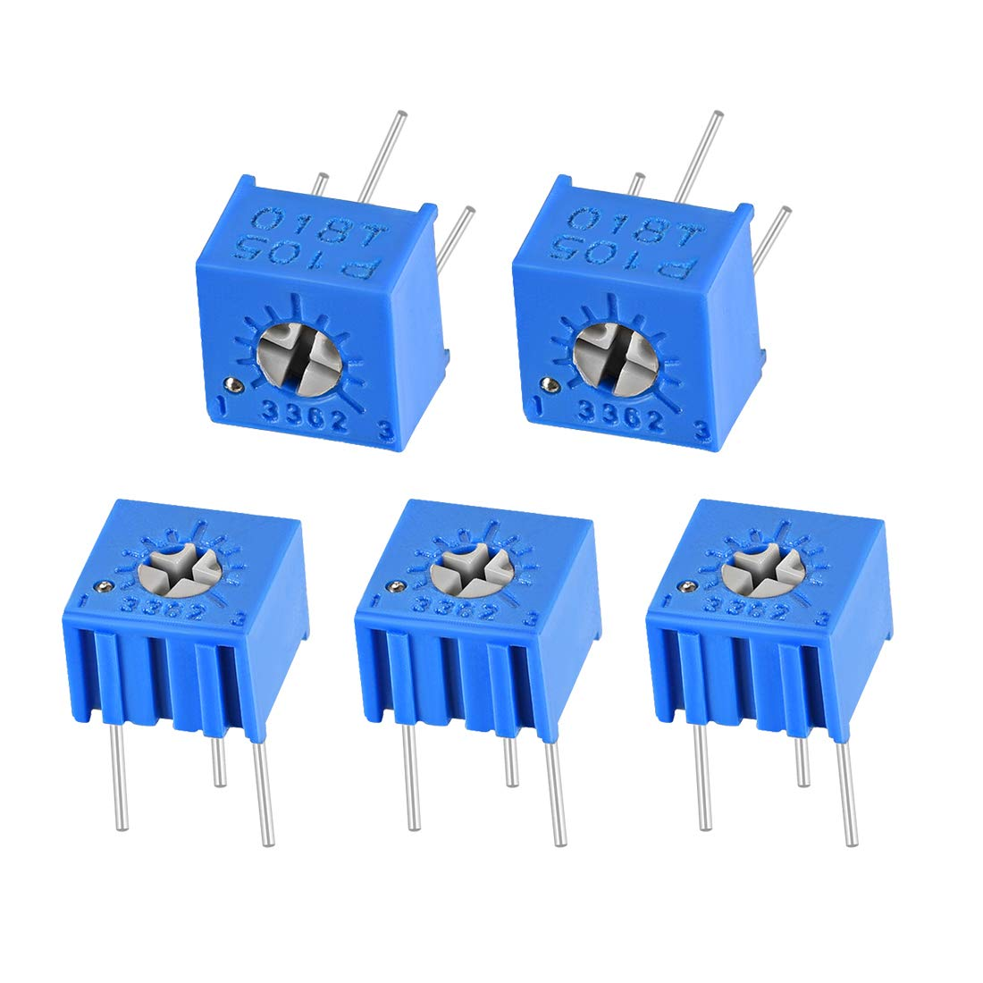 sourcing map 3362 Trimmer Potentiometer 1K Ohm Top Adjustment Horizontal Variable Resistors 5Pcs