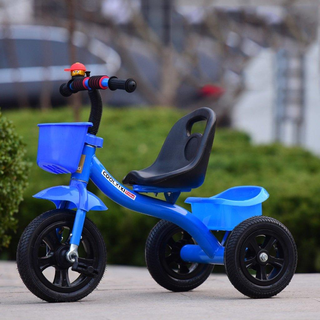 HAIZHEN マウンテンバイク 子供用三輪車ピンク/ブルー/レッド/ホワイト1-5歳の泡ホイール(プッシュハンドルなし)リトラクタブルペダルトロリーリアストレージバスケットベビーキャリッジ 新生児 B07DL7KH8F 青 青