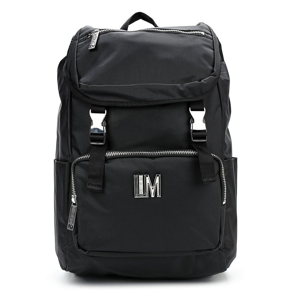 LOVE MOSCHINO Men's Multipurpose Metal Logo Backpack, Black by MOSCHINO
