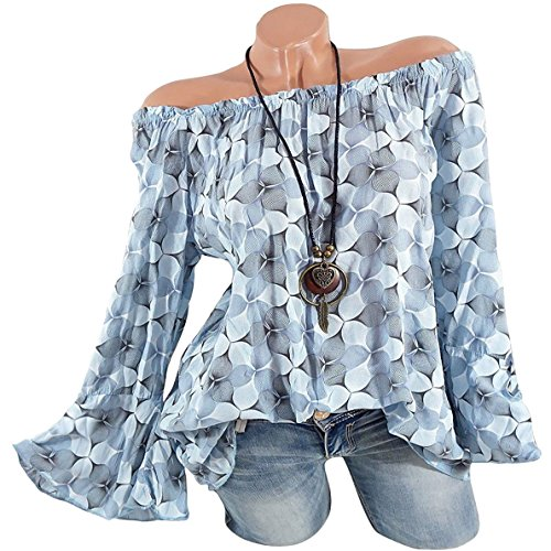 YIcabinet Sexy Off The Shoulder Tops Long Sleeve Graphic T Shirt Women Prints Cute Trumpet Sleeves(M Gray Blue)