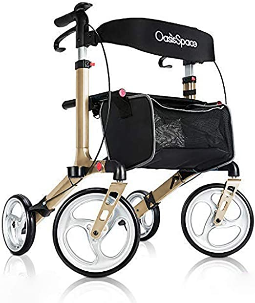 OasisSpace Aluminum Rollator Walker, with 10 Wheels and Seat Compact Folding Design Lightweight Baking Complimentary Carry Bag (Champagne)