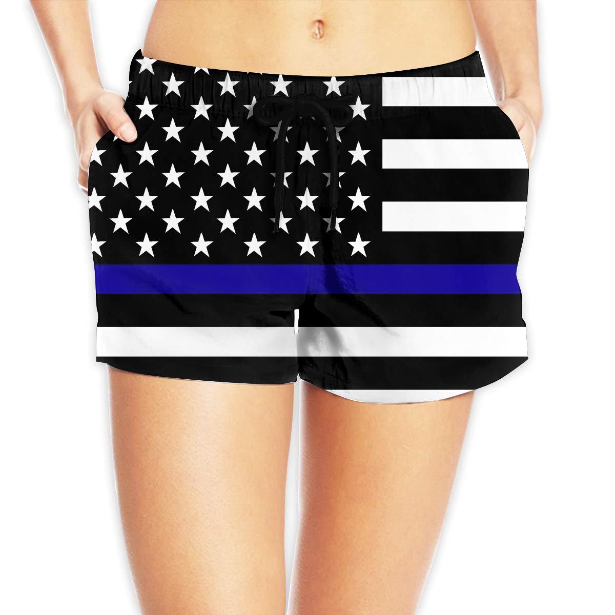 ThreeAlclo American Flag Thin Blue Line Police Officer Women Summer Beach Shorts Swimsuit
