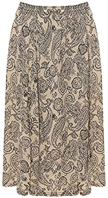 Rimi Hanger Womens Paisley Printed Skater Skirt Ladies Elasticated Stretch Waist Floral Skirt M/3XL