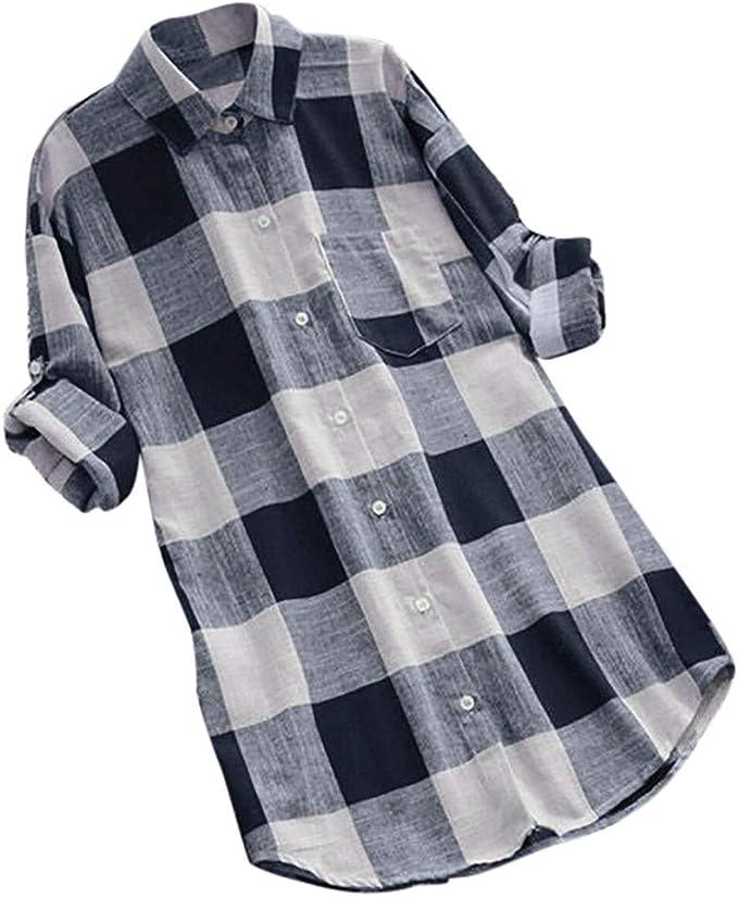 MRULIC Damen Neue Arbeitshemden Blusen mit Knopfleiste Kragen Pocket Front Shirt Einfarbig Tops Slim