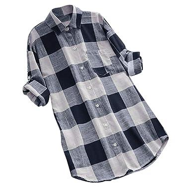 87280e83243 Amazon.com: IAMUP Womens O-Neck Lattice Blouse Print Long Sleeve Buttons  Casual Tops T-Shirt Comfortable Blouse: Clothing