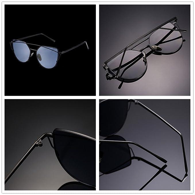Nykkola - Lunettes de soleil en forme d'œil de chat, classiques, à monture double - Verres miroir colorés - Protection UV400, XGYJ00064-1, black frame and blue lens