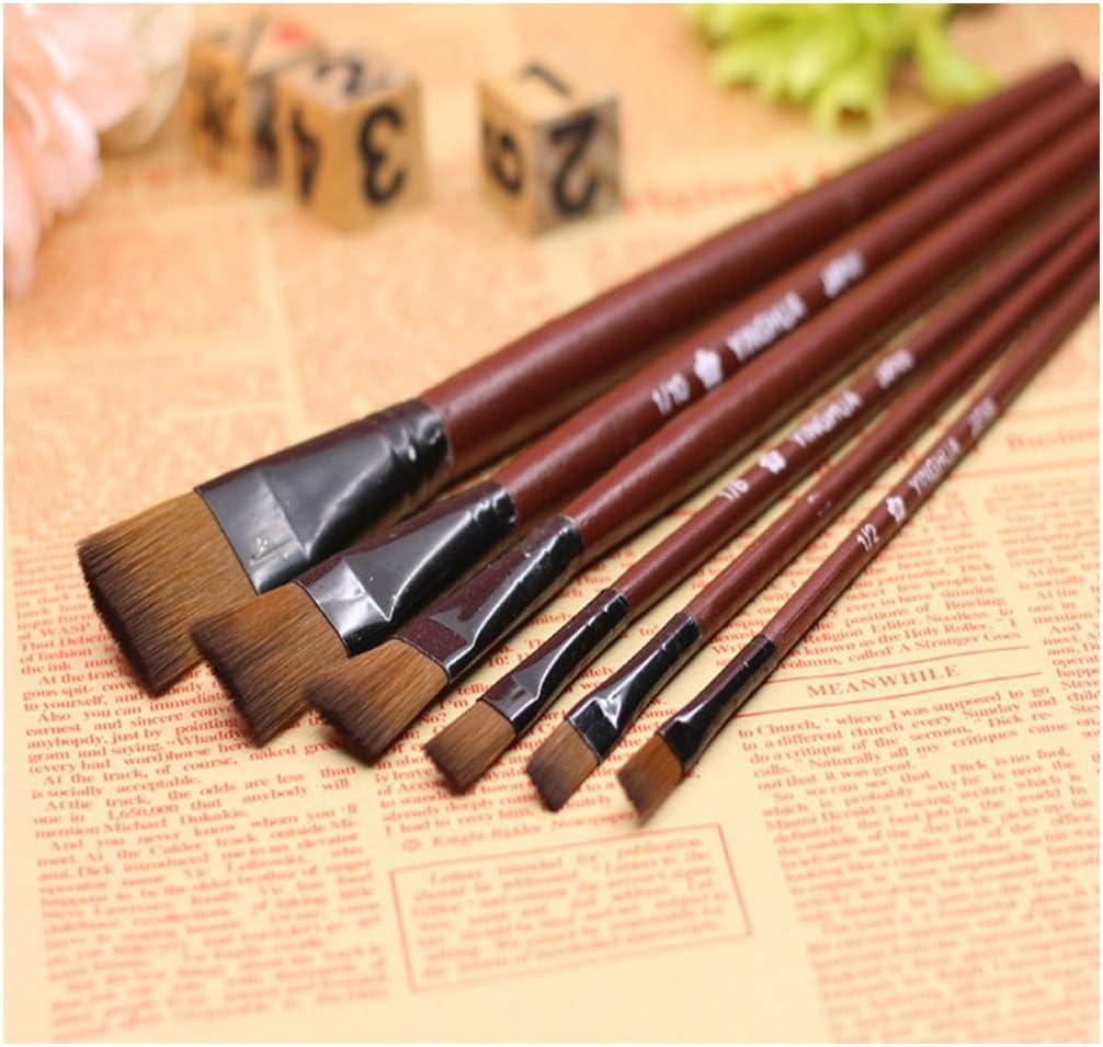 6pcs//1 Paint Brushes Set Nylon Brush for Oil Watercolor Artist Painting Art NEW
