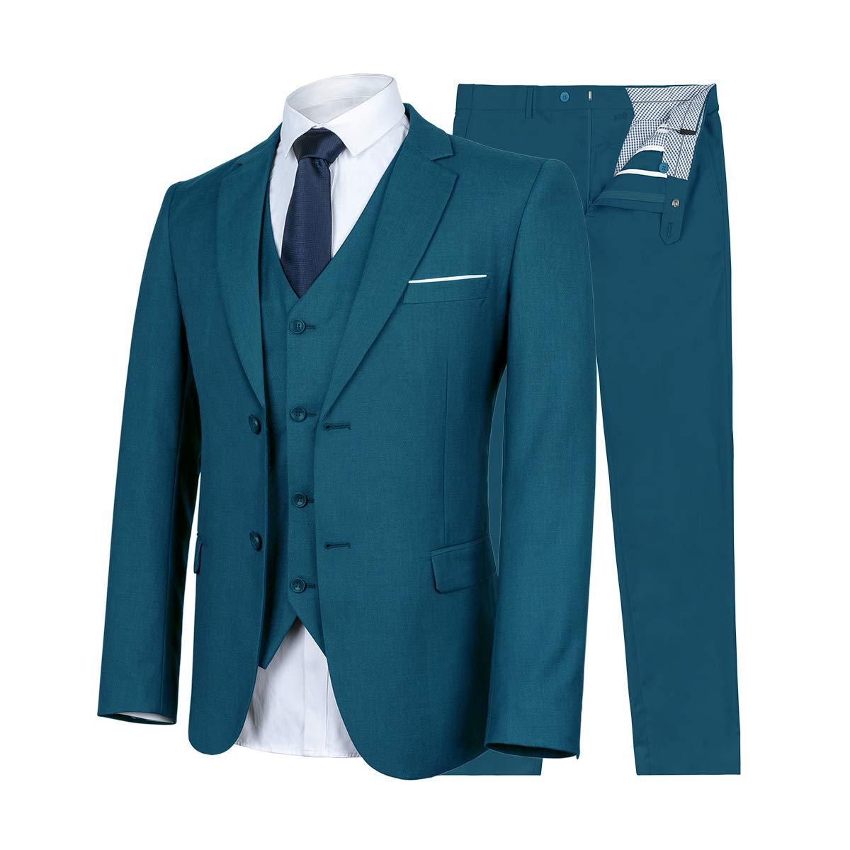 9fb647cf7237 WULFUL Men's Suit Slim Fit 3 Piece Suit Blazer Two.