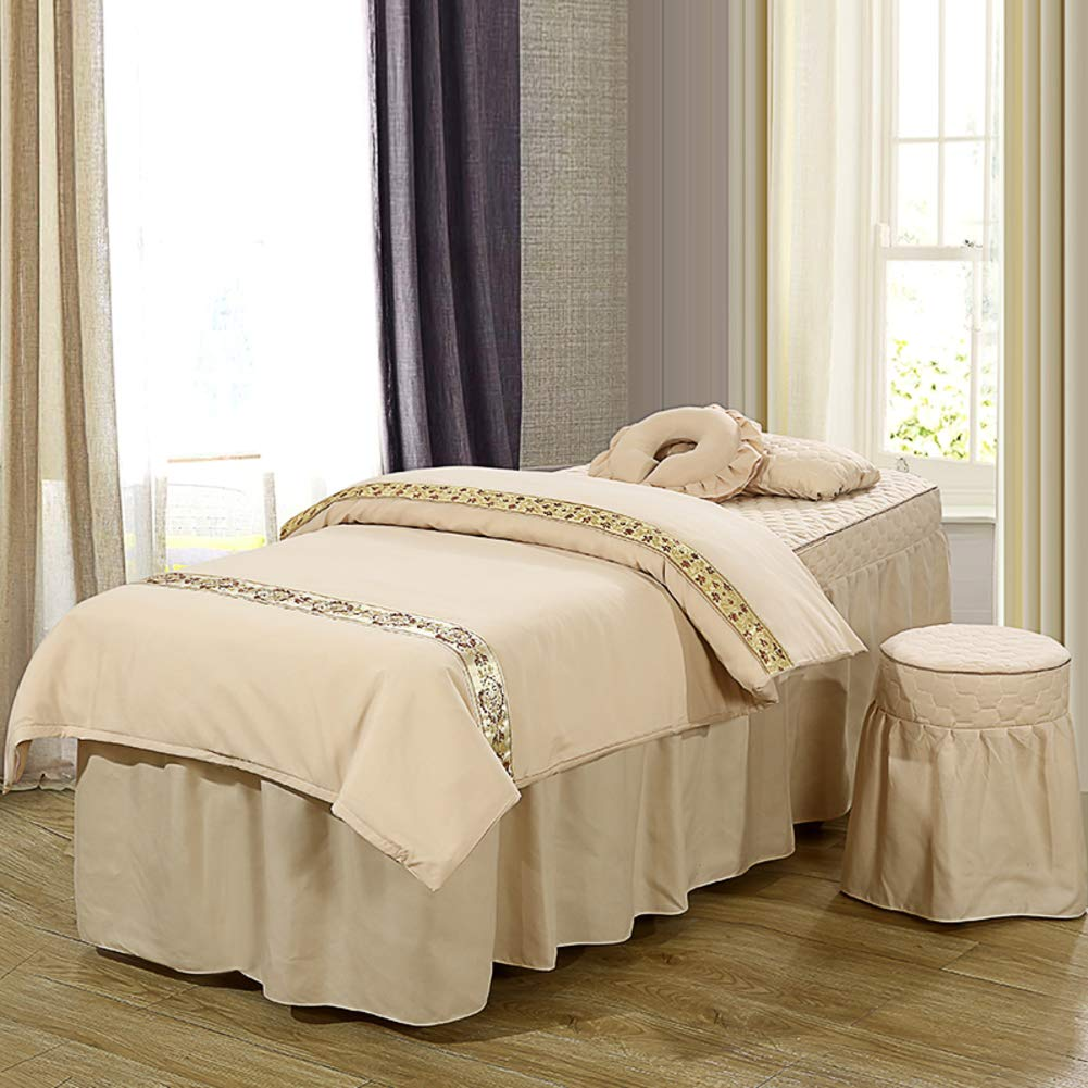 ALHBNAY Korean Beauty Bed Cover 4 Pices, Salon Body Fumigation Physiotherapy Massage Bed Skirt Sheet-D 70x190x55cm