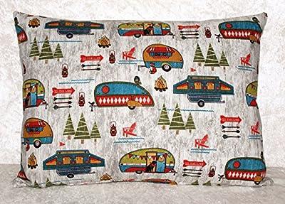 "Handmade Throw Pillow Cover - Retro Trailers - Zipper - Fits 16"" x 12"" Pillow - RV Camping Decor"