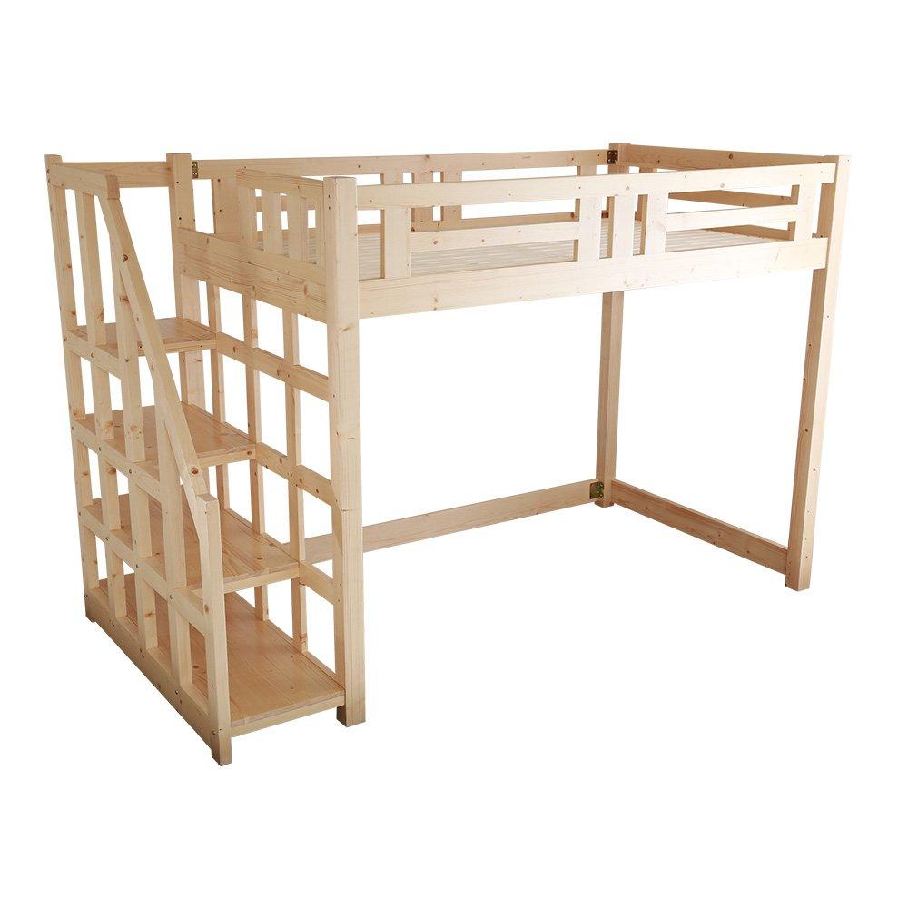 子供部屋 大人でも使える おしゃれなロフトベッド セミダブル ナチュラル 木製(すのこ天然木階段付き分割可能) B07D3T779X ナチュラル ナチュラル