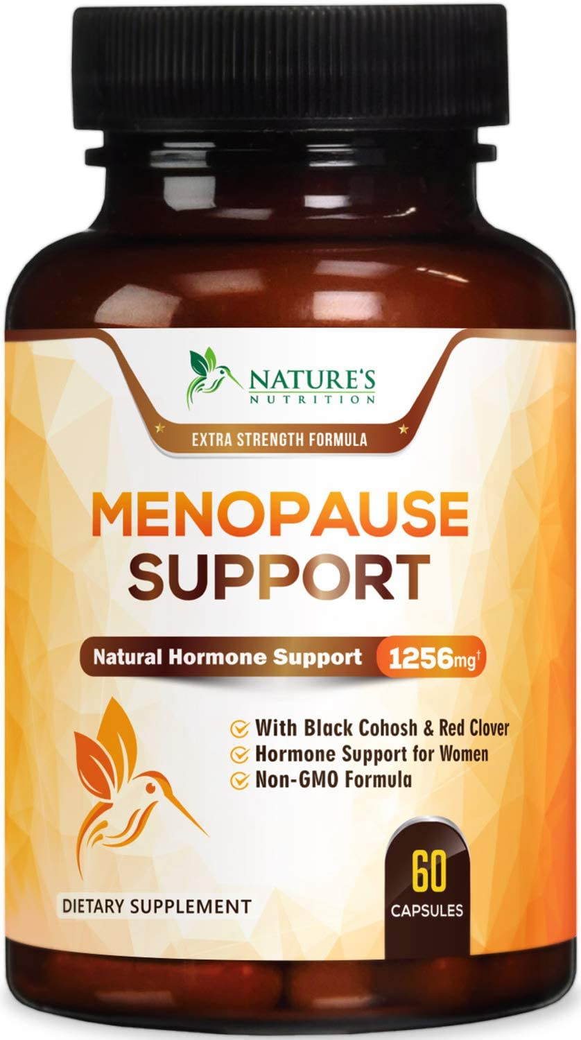 Menopause Supplements Highest Potency Hot Flash Relief 1256 mg - Estrogen & Hormone Balance Support for Women - Made in USA - Natural Pills w/Black Cohosh, Dong Quai & Soy Isoflavones - 60 Capsules
