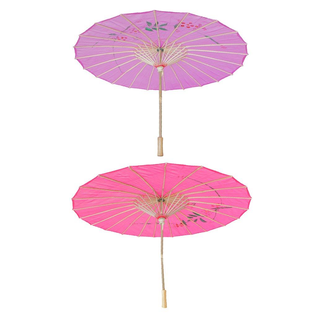 Homyl Pieces of 2 Elegant Women Wooden Handle Cloth Floral Umbrella Dance Prop Rose Red+Purple by Homyl (Image #4)