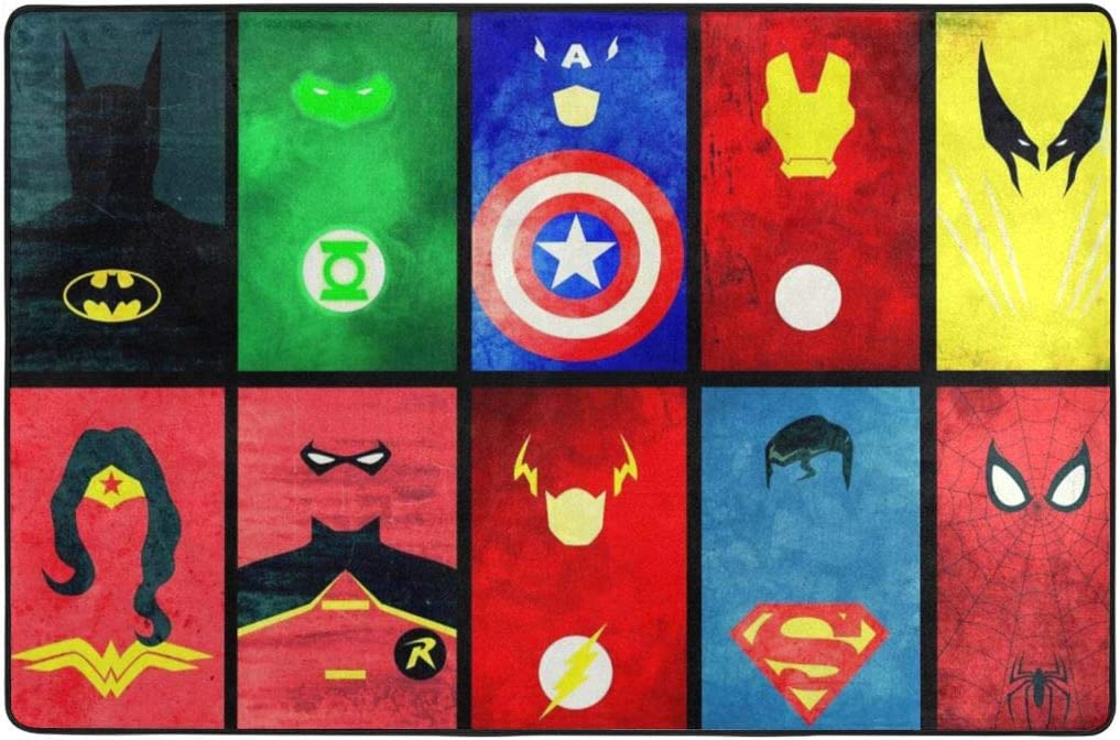 Marvel Avengers Spiderman Area Rugs Mats Carpet for Boys Living Room Home Decor 3x2Feet