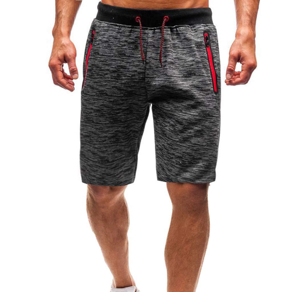 Men's Casual Soft Shorts - Summer Loose Tether Elastic Design Comfy Workout Short Pants with Zipper Pockets