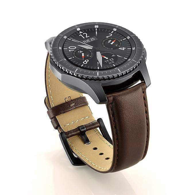 Sundaree Compatible con Correa Galaxy Watch 46mm/Gear S3 Frontier/Classic,22mm Marrón Cuero Reemplazo Banda Pulseras de Repuesto Correas para Samsung ...