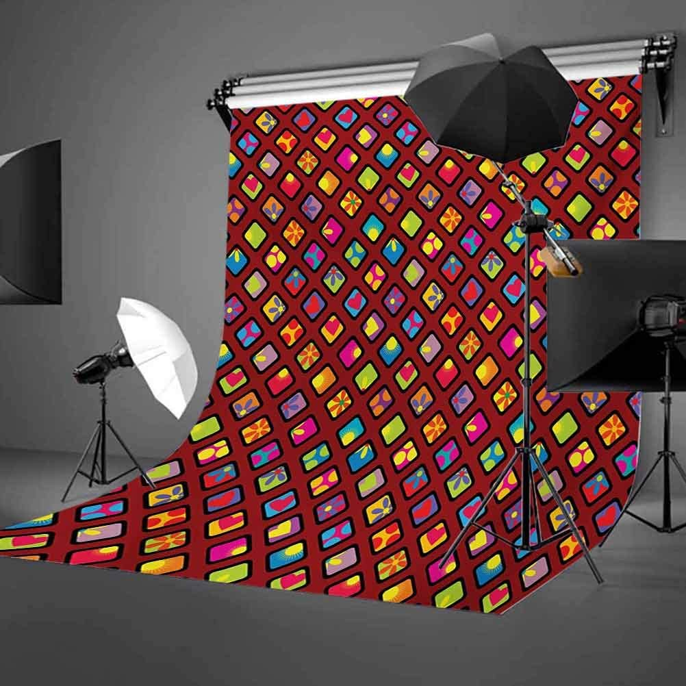 Geometric 6x8 FT Photo Backdrops,Colorful Rhombuses with Heart Flower and Polka Dots Pattern Abstract Illustration Background for Baby Shower Bridal Wedding Studio Photography Pictures Multicolor