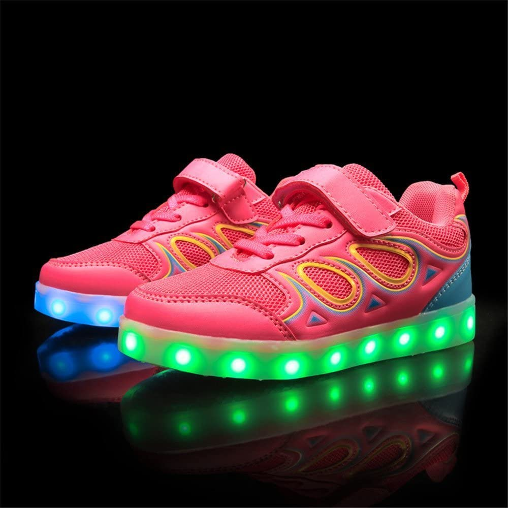 FG21ds21g Boys Girls Kids 7 Colors LED Light Up Luminous Shoes USB Charge Casual Sneakers