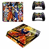 Cosines PS4 Slim Stickers Vinyl Decal Protective Console Skins Cover for Sony Playstation 4 Slim and 2 Controllers Dragon Ball Super Saiyan Goku Vegeta All Friend And Villain Hero Anime