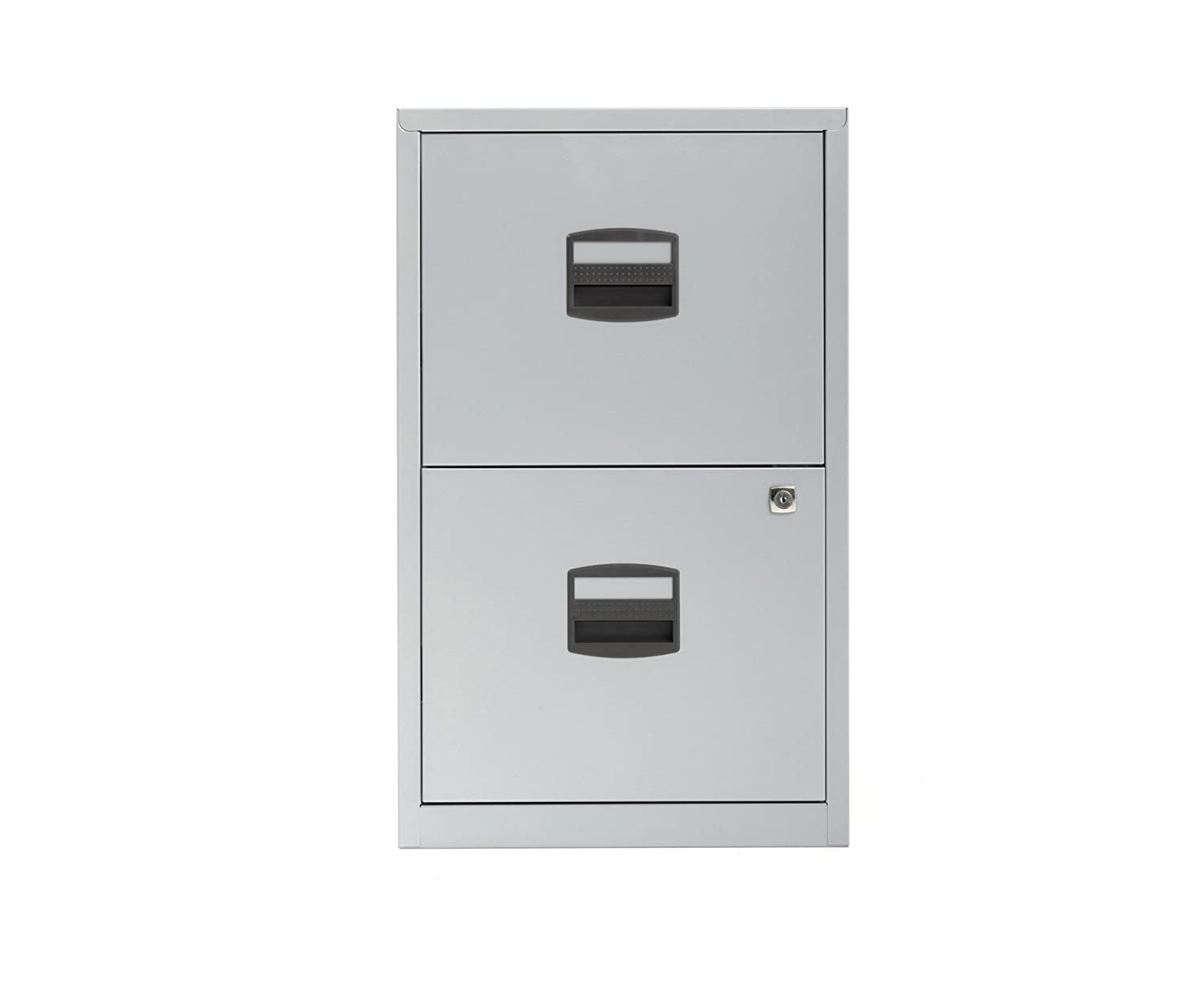 b71f4503161 Bisley Metal Filing Cabinet 2 Drawer A4 H670xW410xD400mm - Color  Silver   Amazon.co.uk  Office Products