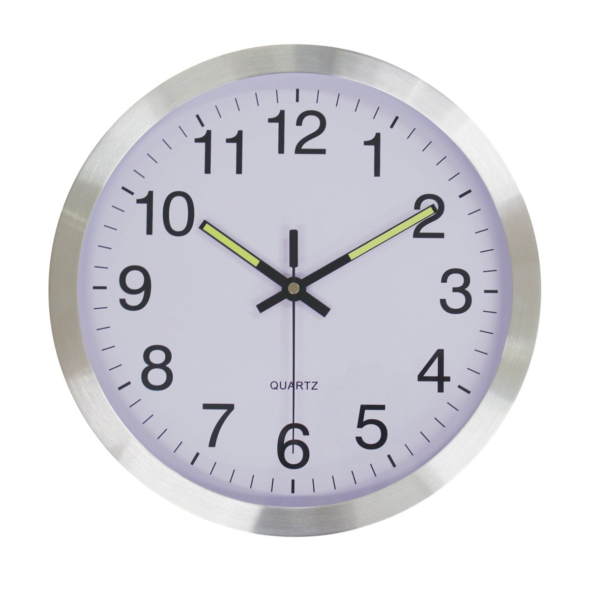 Justnile 12 inch sweep silent wall clock glow in the dark hands justnile 12 inch sweep silent wall clock glow in the dark hands silver frame amipublicfo Images