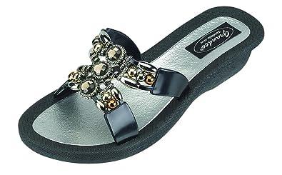 95e0920fd63a22 Grandco Womens Lady Q Slide Black Sandal 6 M US