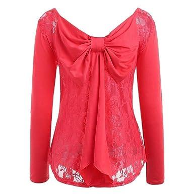 Chemisier à Manches Longues Pas Cher Chic Blouse T-Shirt Bowknot Femmes 6fcbb2d2d80