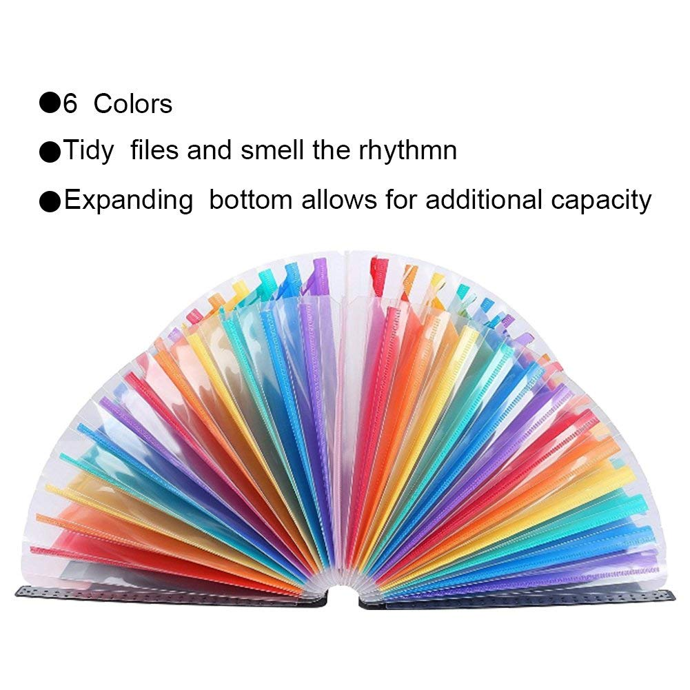 Expanding File Folder - ABC Life 24 Pockets Portable Rainbow A4 File Organiser Self Standing Accordion Document Wallet Business Filing Box High Capacity Storage Bag for Home & Office & School