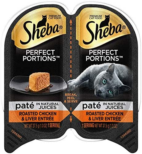 Sheba Perfect Portions Wet Cat Food Paté In Natural Juices Roasted Chicken & Liver Entrée, (24) 2.6 Oz. Twin-Pack Trays