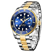 Bersigar Men's Automatic Watch, Elegant Casual Mechanical Watch With Sapphire Glass, Date, Calendar, Stainless Steel Strap