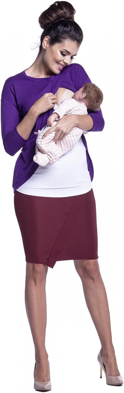 446c Womens Maternity Nursing Top Crew Neck Layered Wrap Design Zeta Ville