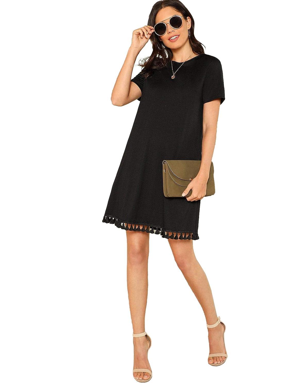 SOLY HUX Damen Kurz T-Shirt Sommerkleid Knielang Quaste Hundhals Kleid Strandkleid Casual Basik Kleider