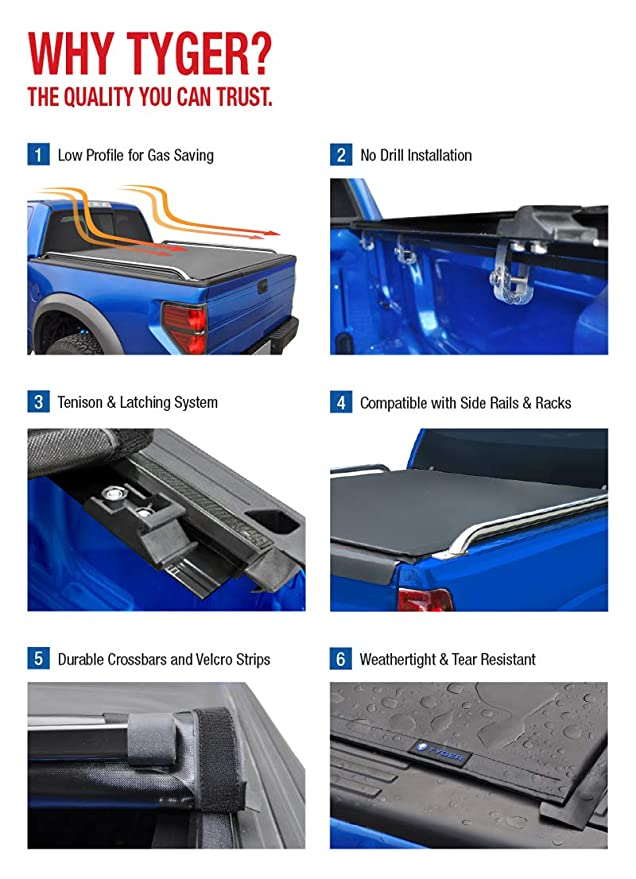 Tyger Auto Tg Bc2f2072 Rolock Low Profile Roll Up Truck Bed Tonneau Cover 1999 2007 Ford